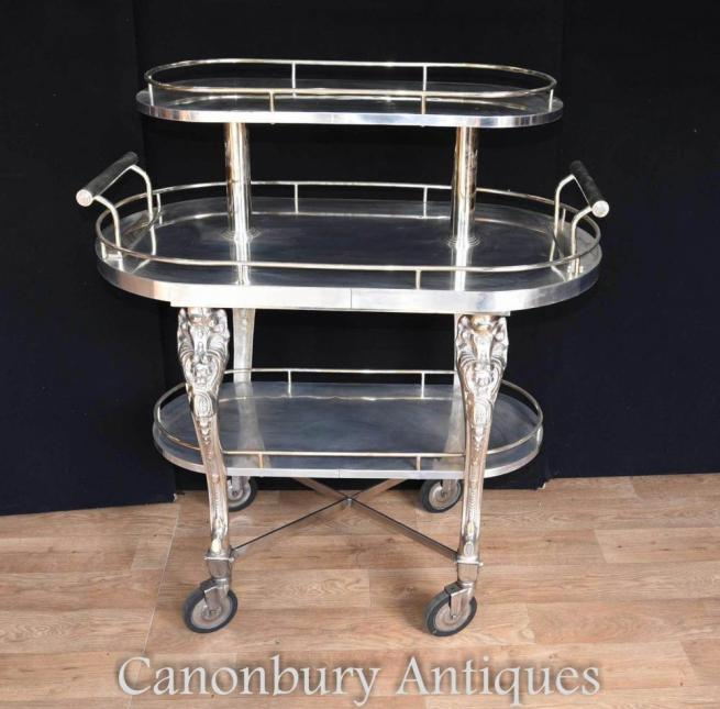 English Sheffield Silver Plate Food Trolley Server Shelf Unit