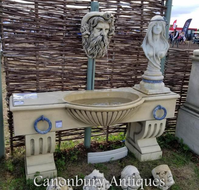 English Stone Water Trough Wall Fountain Neptunes Head