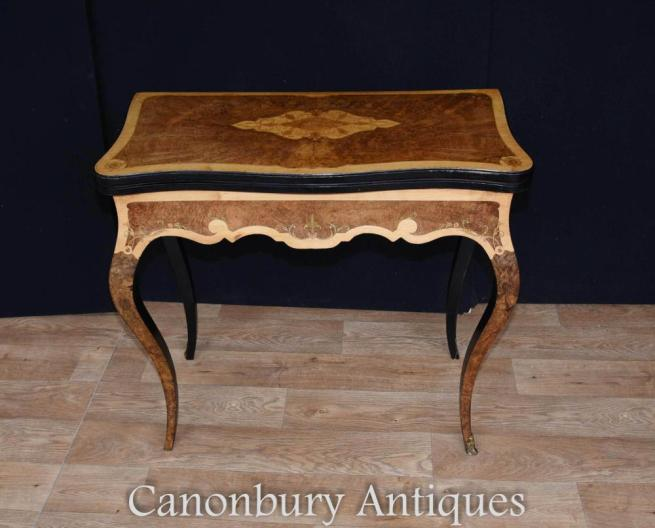 French Antique Amboyna Satinwood and Walnut Card Table Circa 1880 Empire