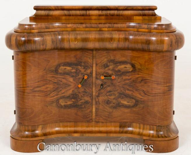 French Art Deco Walnut Cabinet Chest 1930