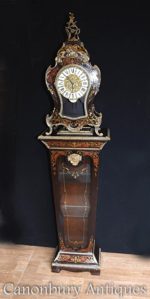 French Boulle Mantle Clock on Glass Display Pedestal Cabinet 1930
