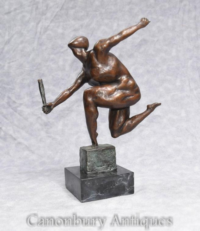 French Bronze Modernist Bronze Statue Figurine Male Form