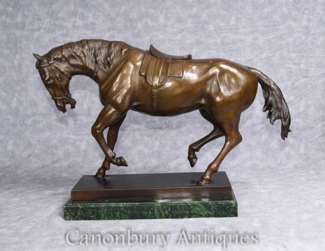 French Bronze Statue Signed Barye Horses Pony Casting