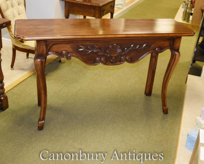 French Cherry Wood Console Table Farmhouse Furniture