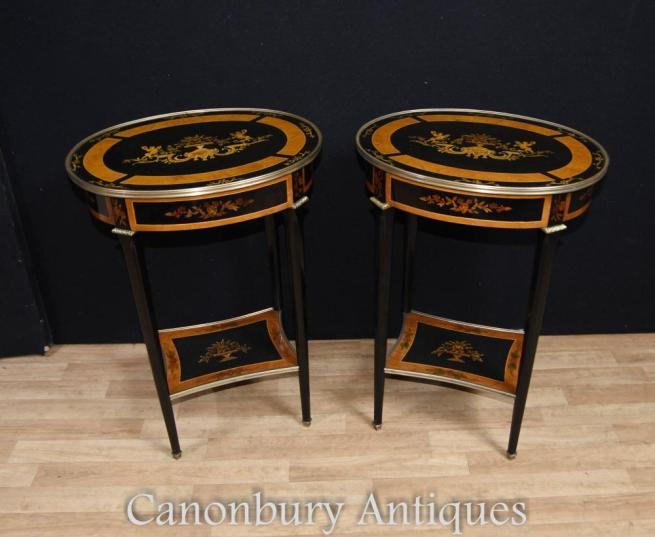 French Empire Lacquer Oval Side Tables Cocktail