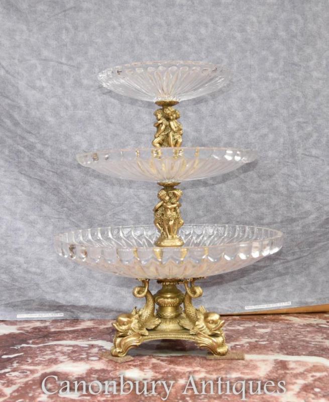 French Empire Ormolu Glass Tiered Cake Stand Dish Tureen Cherub