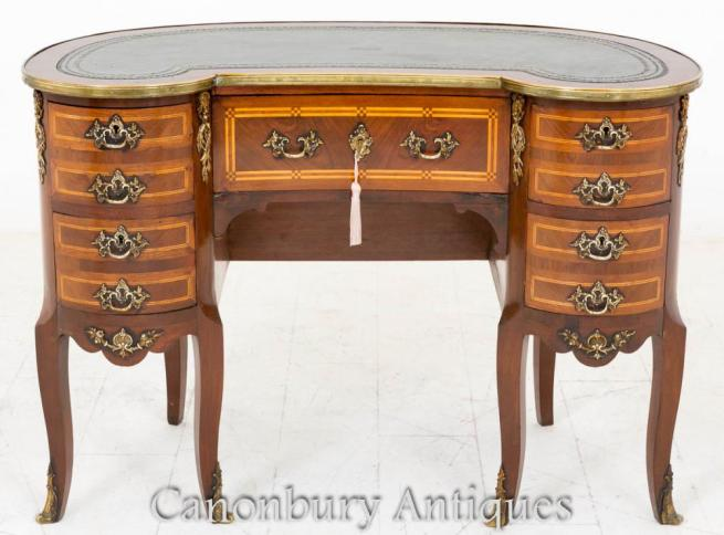 French Kidney Bean Desk Ladies Writing Bureau in Mahogany