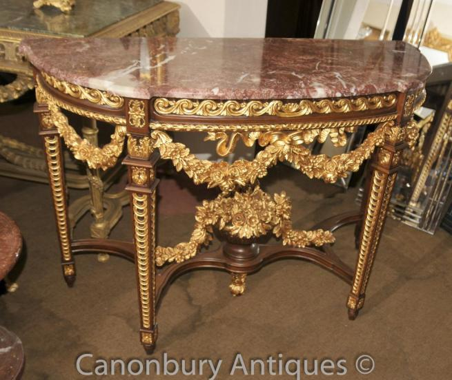 French Louis XVI Gilt Demi Lune Console Table Marble Top