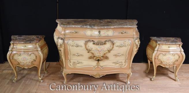 French Louis XVI Painted Bombe Commode Bedside Chests Set Nighstands