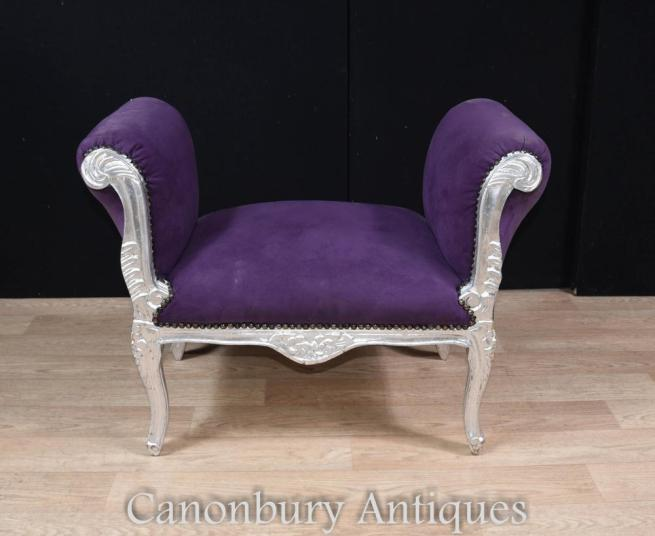 French Silver Gilt Stool Window Seat Louis XVI
