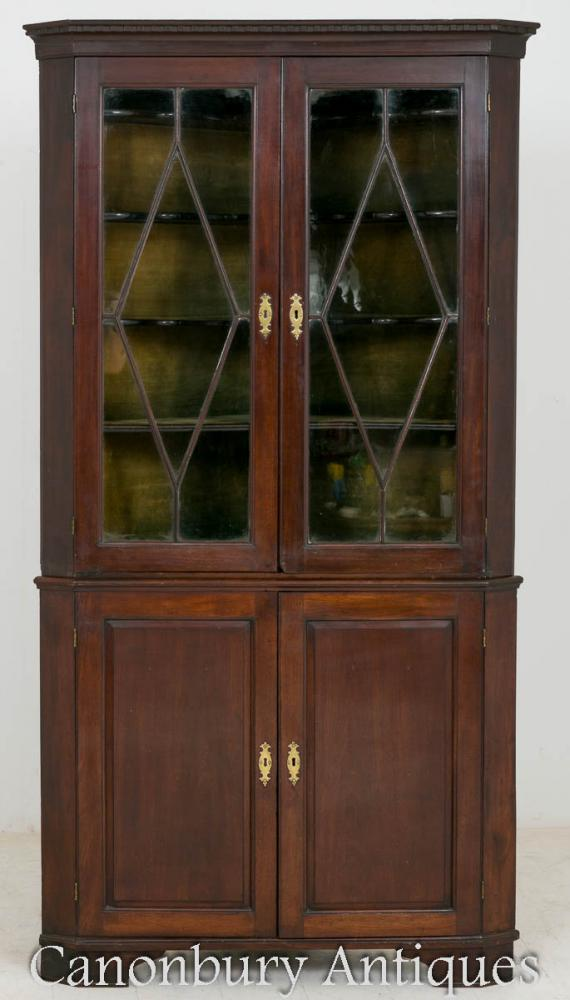 George II Mahogany Corner Cabinet Display Glazed 1750