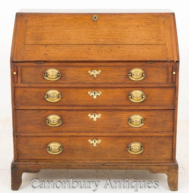 George III Elm Bureau Desk Chest Drawers 1800