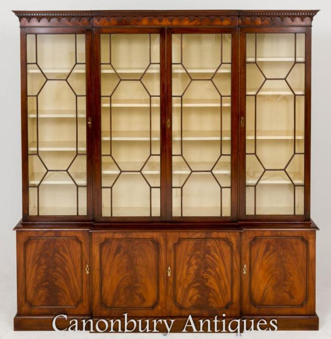 Georgian Breakfront Bookcase Mahogany