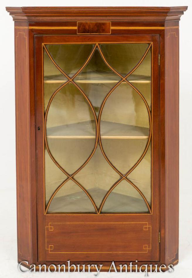 Georgian Mahogany Corner Display Cabinet 1800
