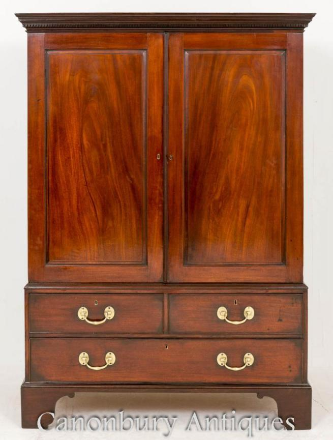 Georgian Mahogany Gentlemans Linen Press Wardrobe