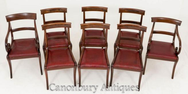 Harlequin Set 8 Regency Mahogany Dining Chairs