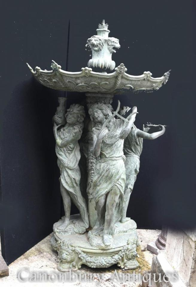 Italian Bronze Four Seasons Tiered Fountain Architectural Classical Maidens