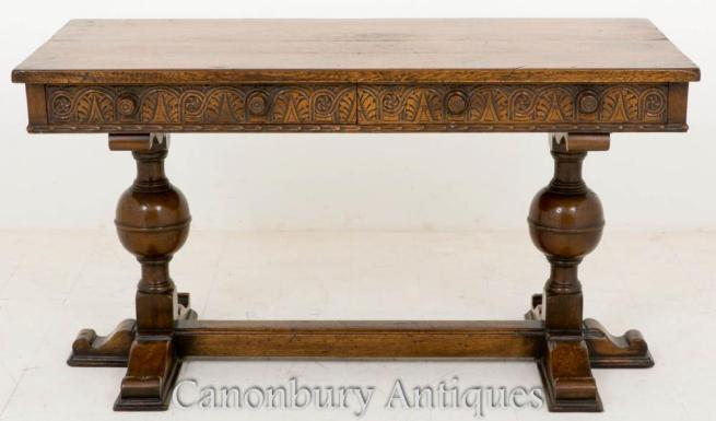 Jacobean Oak Carved Side Table Desk