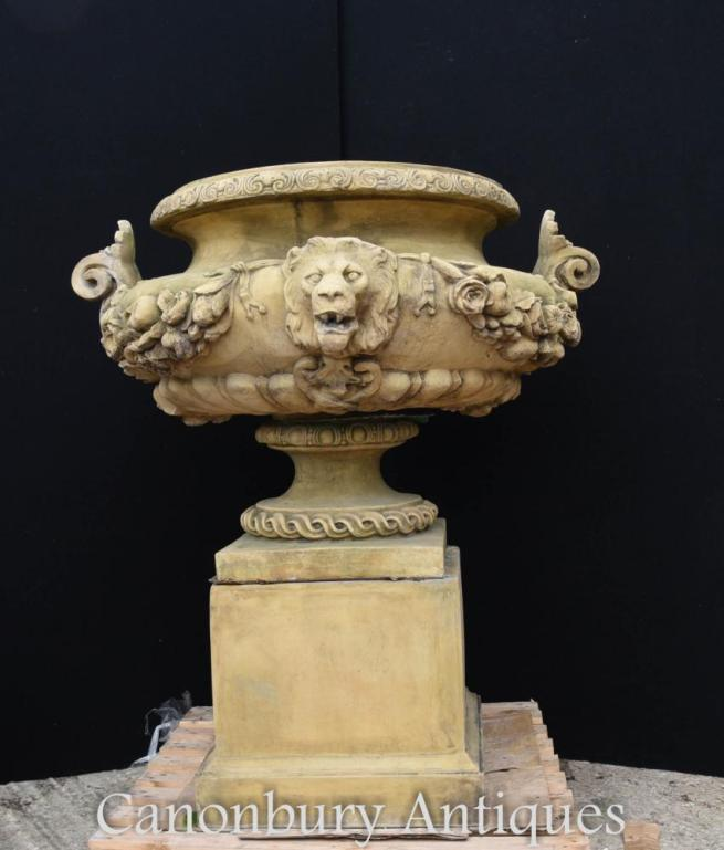 Large English Stone Garden Urn on Pedestal Plinth Classic Architectural