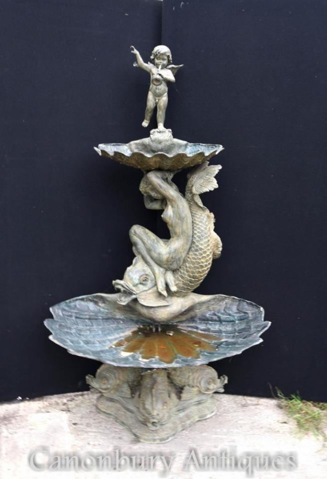 Large French Bronze Cherub Maiden Tiered Fountain Water Feature