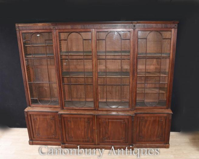 Large George III Breakfront Bookcase Mahogany 1800