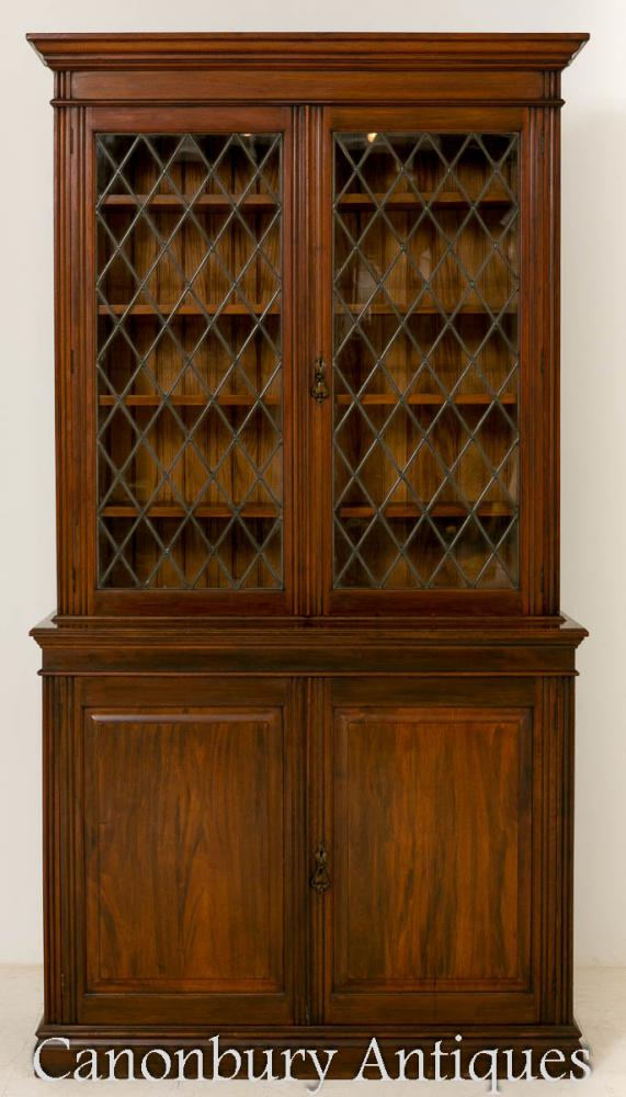 Late Victorian Mahogany Bookcase Cabinet 1890