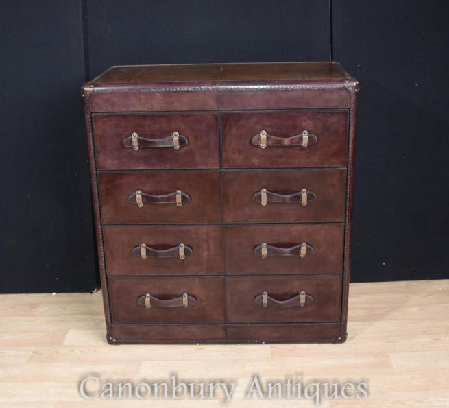 Leather Campaign Chest Drawers Colonial Furniture Commode