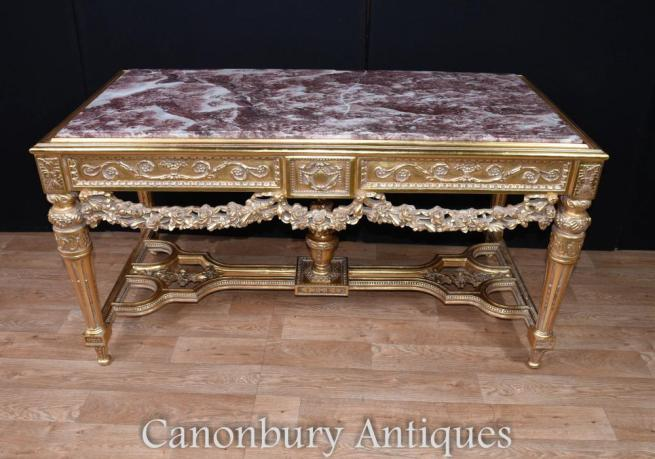 Louis XVI Gilt Console Table Marble Topped Hall Tables