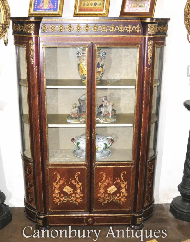 Louis XVI Glass Display Cabinet Bookcase French Furniture