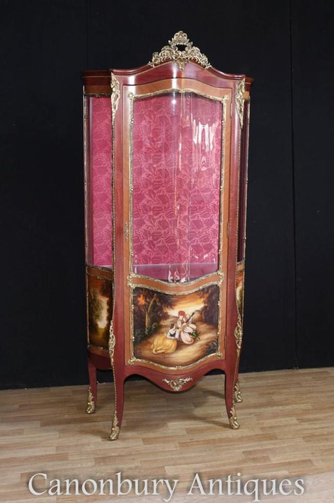 Louis XVI Kingwood Display Cabinet Painted Vernis Martin Plaques