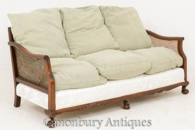 Mahogany Chippendale Caned Settee Sofa 1900