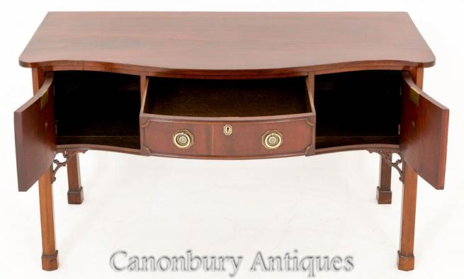 Mahogany Chippendale Serpentine Sideboard Buffet Server
