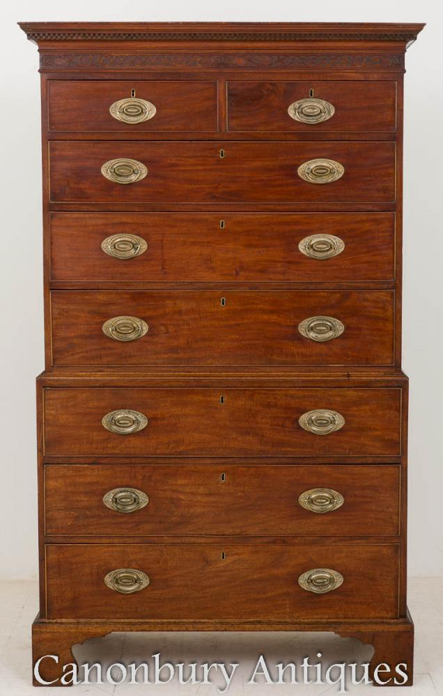 Mahogany George II Chest on Chest 18th Century