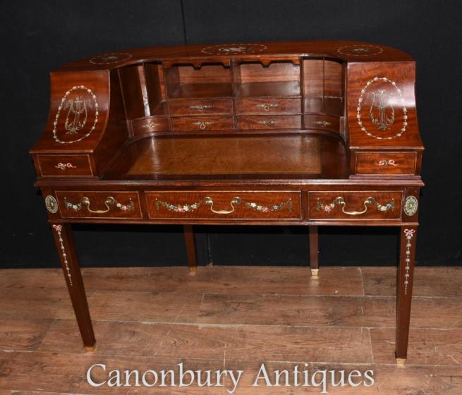 Mahogany Regency Carlton House Desk Painted Bureau
