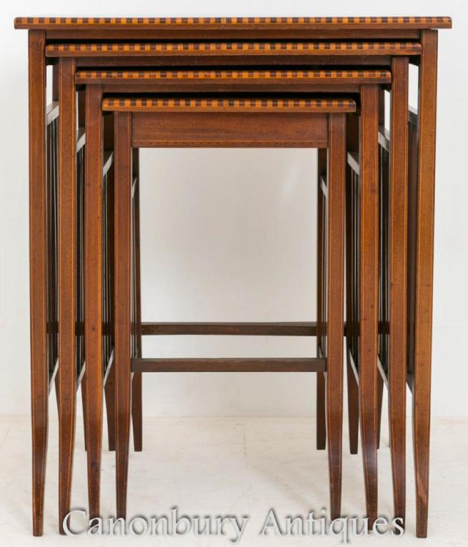 Mahogany Sheraton Inlay Nest Tables Side Table 1890