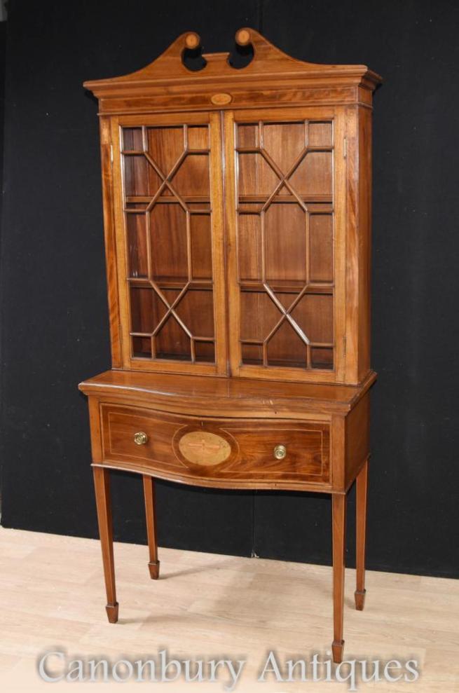 Mahogany Sheraton Regency Display Cabinet Bookcase