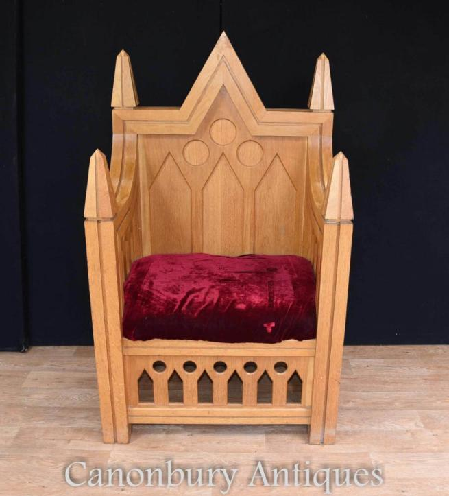 Medieval English Oak Henry II Throne Chair Tower of London