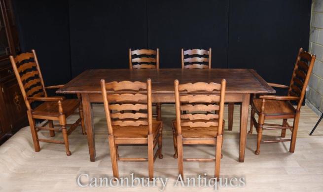 Oak Refectory Table Set 6 Ladderback Chairs Farmhouse Dining Set