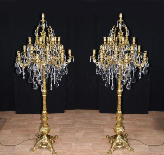 Ornate Pair Louis XVI Gilt Candelabras Floor Lamps