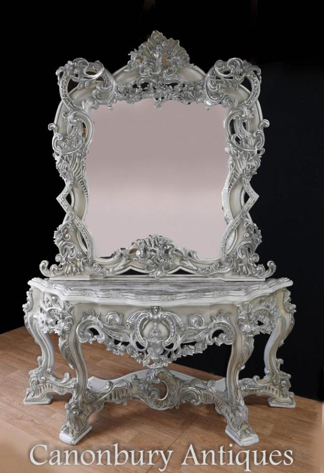 Painted Italian Rococo Silver Gilt Console Table and Mirror Set