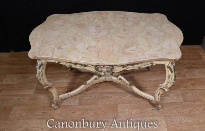 Painted Louis XV Coffee Table Marble Top