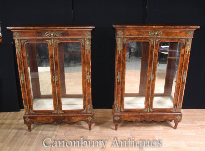 Pair Antique English Burr Walnut Victorian Pier Cabinets (Circa 1890)