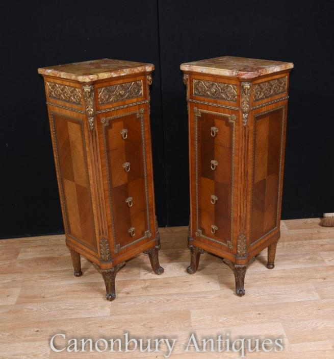 Pair Antique French Napoleon II Tall Boys Commodes 1890