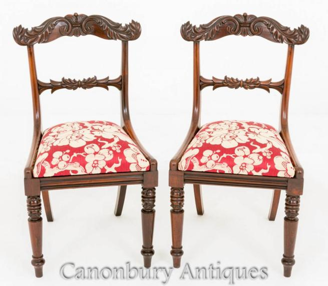 Pair Antique Regency Arm Chairs in Rosewood Dining Chair