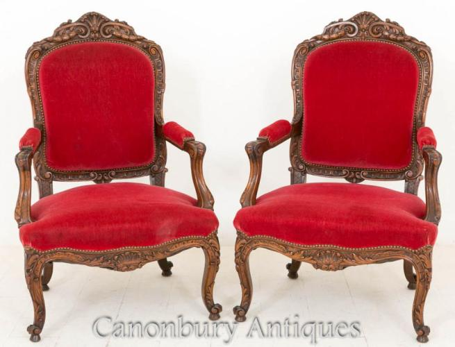 Pair Antique Walnut French Salon Chairs Arm Chair 1870