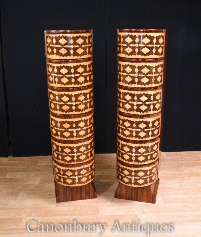 Pair Art Deco Chests of Drawers Tall Boys Marquetry Inlay