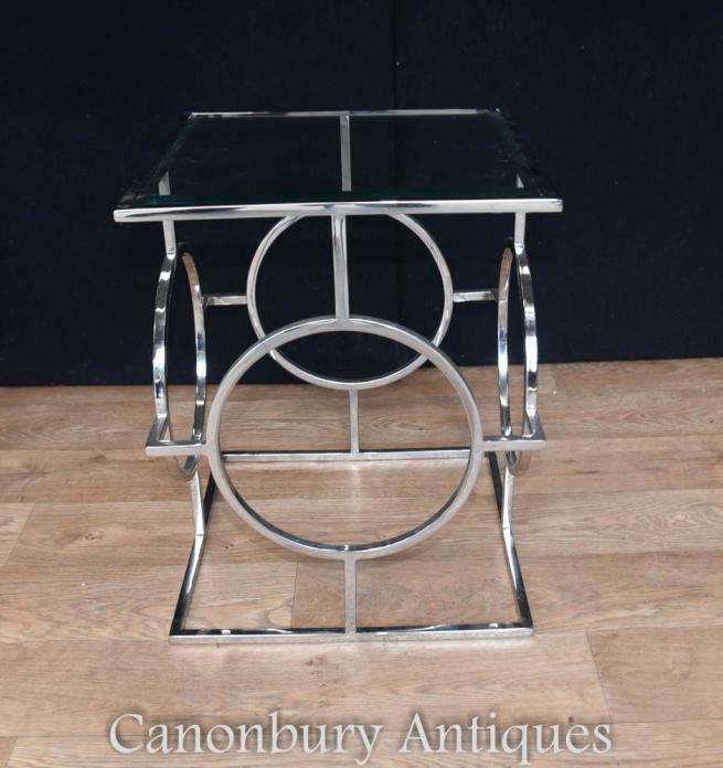 Pair Art Deco Chrome Side Tables Mirror Glass