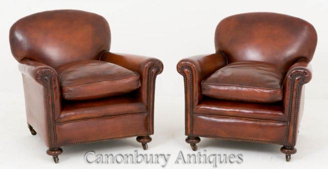 Pair Art Deco Club Chairs Leather Arm Chair 1930