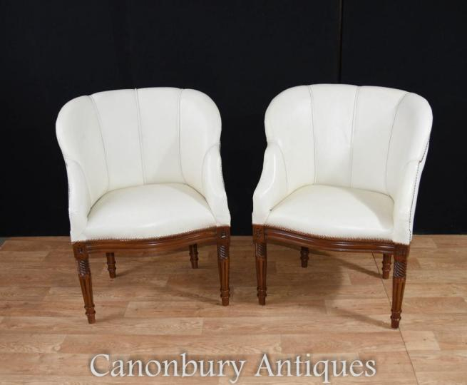 Pair Art Deco Shell Club Arm Chairs Chair Seats