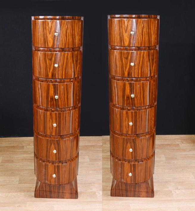 Pair Art Deco Tall Boy Chests of Drawers